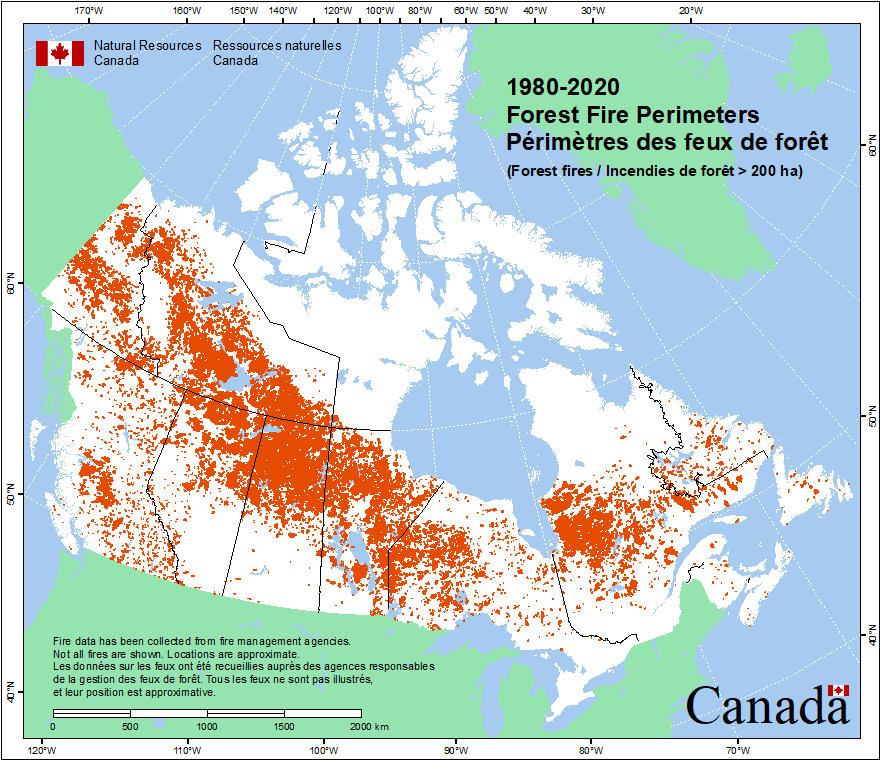 Large Wildfire Map.Canadian Wildland Fire Information System Canadian National Fire