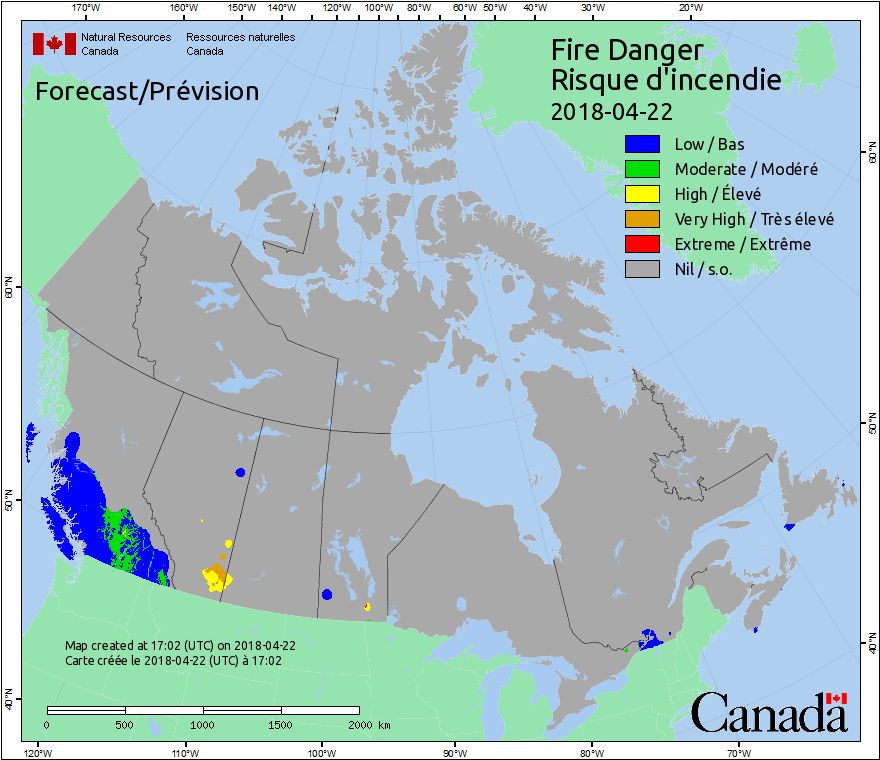 Fire weather maps canadian wildland fire information system fire danger is a relative index of how easy it is to ignite vegetation how difficult a fire may be to control and how much damage a fire may do publicscrutiny Images