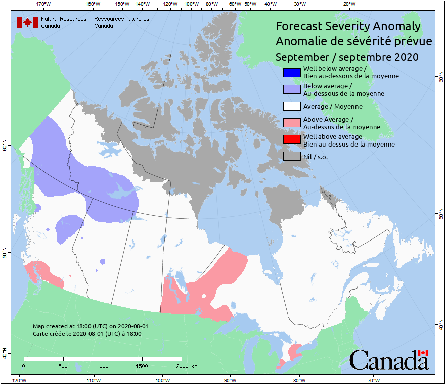Current Fire Map Canada Current Canada Fire Weather Severity Anomaly Map