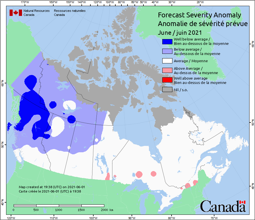 Current Canada Fire severity Anomaly