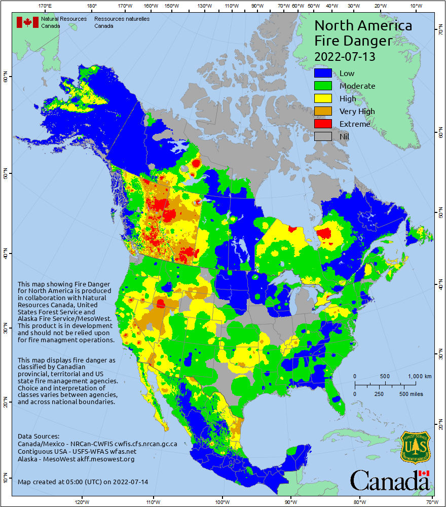 Fire danger map for Canada, the U.S. (except Hawai'i), and Mexico.